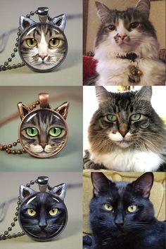 Cat Jewelry // Special Custom Pet Portrait Cat by JeffHaynieArt