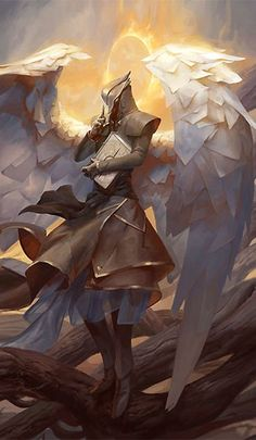 Angel of Mysteries. Angel in armor with white wings against the backdrop of a burning ring.