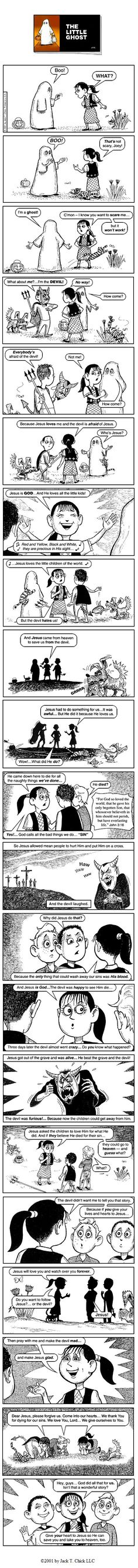 chick tract the little ghost full christian propaganda anti halloween - Christian Halloween Stories