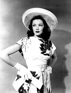 Gene Tierney 40s floral rayon dress purse hat gloves movie star vintage fashion white