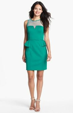 Hailey by Adrianna Papell Sleeveless Illusion Peplum Dress (Online Only) available at #Nordstrom