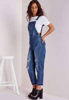 Ripped Ankle Grazer Denim Dungarees - Jumpsuits - Missguided