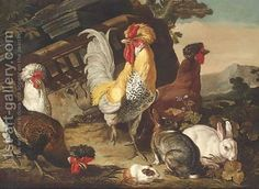 David de Coninck:Chickens, rabbits and a guinea-pig by classical ruins