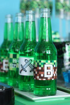 Minecraft drink printables party decoration ideas