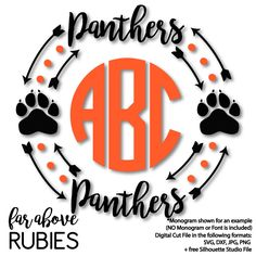 Panther Paw Monogram Frame (monogram NOT included) - SVG, DXF, png, jpg digital cut file for Silhouette or Cricut School Spirit Shirts, School Shirts, Teacher Shirts, Kids Shirts, Cheer Shirts, Vinyl Shirts, Team Shirts, Silhouette Projects, Silhouette Cameo