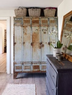 & Repurposed: Vintage Lockers Industrial fabric storage- I have an old locker in the shop I should commandeer.Industrial fabric storage- I have an old locker in the shop I should commandeer. Industrial Decoration, Vintage Industrial Decor, Industrial House, Industrial Interiors, Industrial Furniture, Vintage Decor, Industrial Lockers, Industrial Chic, Industrial Office