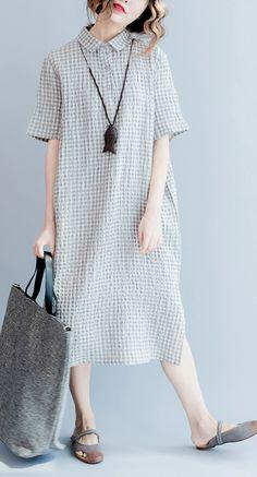 Gray linen dresses summer plus size linen shirt dress long linen caftans 2017 collection