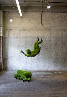 mathilde roussel - hanging living grass sculptures