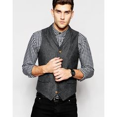 ASOS Waistcoat in Herringbone with Shawl Collar (€22) ❤ liked on Polyvore featuring men's fashion, men's clothing, men's outerwear, men's vests, grey, mens wool vest, mens herringbone vest, mens slim fit vest, mens tall vest and mens grey vest