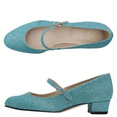 American Apparel Mary Jane Pump Glitter Shoe ($90) ❤ liked on Polyvore featuring shoes, pumps, heels, blue, footwear, low heel pumps, blue glitter pumps, heels & pumps, blue mary jane pumps and glitter shoes