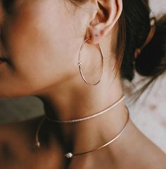 Simple gold necklace and gold earrings. I like my jewelry wearing simple especially in the summer. #goldhoopearring #goldnecklace Protect your jewelry with a #jewelryarmoire