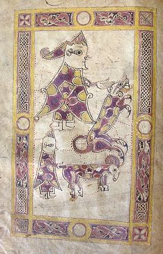 David fighting the lion, with a smaller picture below depicting him as a shepherd. From f.1v of MS C.9. Irish Psalter, 10th-11th century.