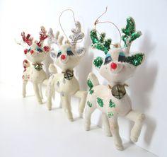 Vintage Flocked Glitter Reindeer