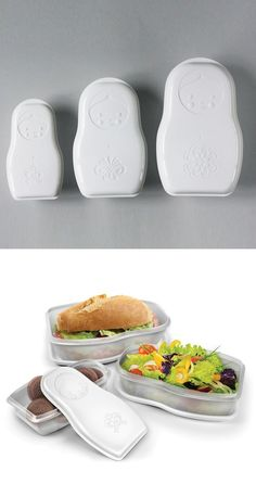 Matryoshka Nesting Food Containers: East meets West, Bento with a Russian spin.  @Nancy Overman