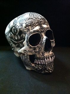 Sugar Skull Day Of The Dead Realistic Human Skull Tattoo Art Signed Rare in Collectibles | eBay