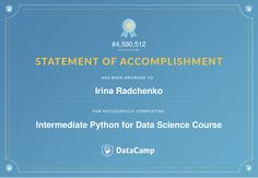 DataCamp certificate Intermediate Python for Data Science course