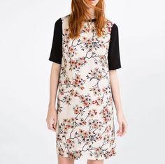 NWT ZARA FLORAL CONTRAST PRINT TUNIC DRESS SHIRTDRESS PINK ECRU BLACK 2354/659 #shirtdress #pink #ecru #black #dress #tunic #floral #contrast #print #zara
