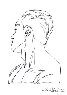 """profil perdu 45″, continuous line drawing by Boris Schmitz"