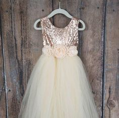763ede94d238 Cream Rulle Flower Girl Dress, Boho Chic Rose Gold Sequin Wedding Gown, Floor  Length Long Ball Gown, Country, Bohemian, Baby