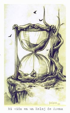 My Life in a Sand Clock by ~Deino on deviantART Clock Drawings, Dark Art Drawings, Art Drawings Sketches, Hourglass Drawing, Hourglass Tattoo, Ink Addiction, Clock Art, Clocks, Beautiful Sketches
