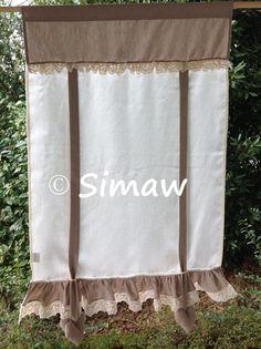 Tenda Margherita + Pizzo Home Curtains, Burlap Curtains, Window Curtains, Burlap Projects, Bed Runner, Window Treatments, Decoration, Shabby Chic, Windows