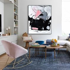 Pink Black and White Large Abstract Textured Painting, Gallery Wrapped Canvas Wall Art Hand Painting Art, Texture Painting, Interior Paint, Modern Interior, Painted Floors, Living Room Art, Minimalist Art, Canvas Wall Art, Pink Black
