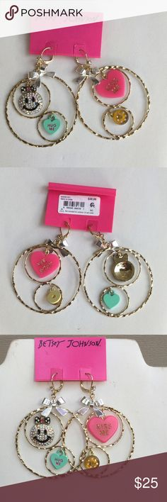 """NWT Betsey Johnson Candyland Mismatch Hoop Earring NWT Betsey Johnson """"Candyland"""" mismatch hoop earrings; can't hug me and kiss me Heart charms, embellished donut and smiley face charms; gold tone with silver tone Bow; so cute for Valentines Day Betsey Johnson Jewelry Earrings"""