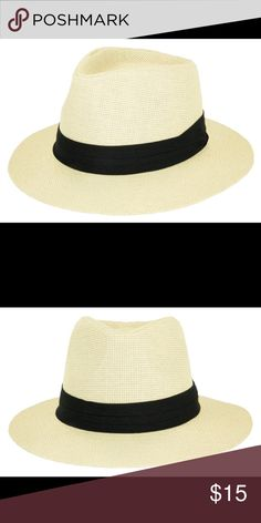 Natural color paper straw panama hat Paper straw panama hat with band. One size fits (head circumference is about 57cm). 2.5 inch brim The Hatter Company Accessories Hats
