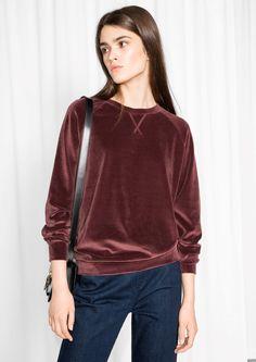 & Other Stories image 2 of Velour Sweatshirt in Plum