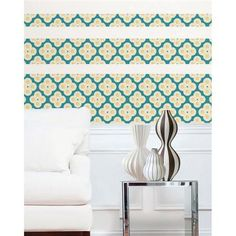 Jonathan Adler for WallPops line. Elephant Paisley Stripes. #walldecals  #wallart  #peelandstick  #WallPops  #wallstickers  #decor  #DIY  #decorating