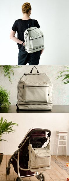 I really like this! Unisex diaper bag backpack with all the pockets.