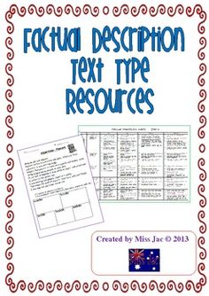 This 5 page product contains resources to be used with a Factual Description genre/text type unit.