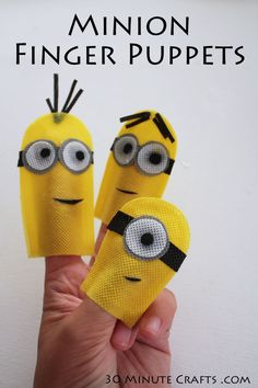 No Sew Minion Finger Puppets