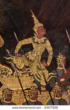 stock photo : Design drawings on the wall Thai temple Public image. Can take photos. Literature is the art of Thailand. And Thailand as well as art.