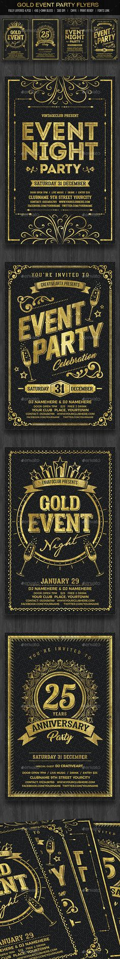 Gold Event Flyers Template PSD Set