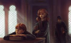 Hermione casting a rather affectionate look towards Ron. I'm betting Harry is actively wishing Ginny was around, heh.