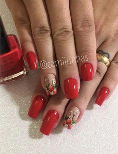 Melhores modelos de unhas vermelhas decoradas para copiar Square Nail Designs, Fall Nail Art Designs, Red Nail Designs, Acrylic Nail Designs, Elegant Nail Designs, Cute Acrylic Nails, Cute Nails, Pretty Nails, Flower Nail Art