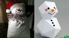 you can make a cute snowman out of everything - paper, pillow, spoons, eggs, paper bags, candles, flour, etc.