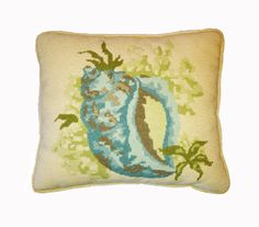 Vintage Sea Shell Pillow Stitched Beach Nautical Decor