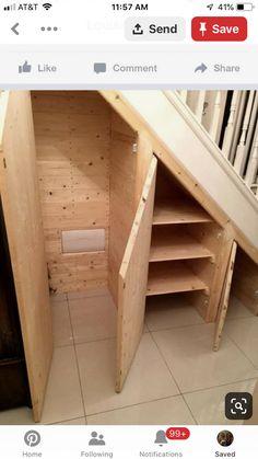 Diy Storage Shelves, Basement Storage, Basement Stairs, Cupboard Storage, Closet Storage, Basement Remodeling, Storage Ideas, Basement Ideas, Basement Plans