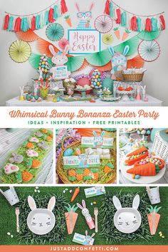 This Whimsical Bunny Bonanza Easter Party is full of so many adorable Easter ideas, fun inspiration, delicious sweets and treats to fill those Easter baskets, beautiful party supplies and a gorgeous tablecloth to host an amazing Easter celebration! #easter #easterideas #easterparty #bunny #easterbunny #justaddconfetti #partyideas #partydecor #eastercookies #easterchocolate