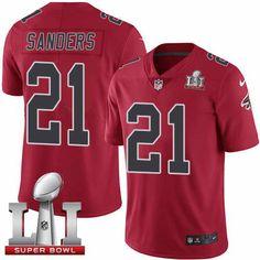 Men's Falcons #21 Deion Sanders Red Super Bowl LI 51 Stitched NFL Limited Rush Jersey