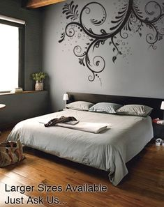"About This Wall Decal: Decal #310    *The Measurements Are:  44"" tall x 66"" wide (5.5ft wide)  Default color is Black.  Please email us your color. We can custom make any size you like, please ask us."
