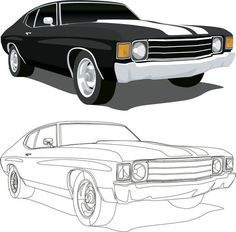 An poster sized print, approx (other products available) - Vector Illustration of a 1971 Chevelle SS muscle car, saved in layers for easy editing. - Image supplied by Fine Art Storehouse - poster sized print mm) made in Australia Car Drawing Easy, Car Drawing Pencil, Cool Car Drawings, Easy Drawings, Chevelle Ss, Chevy Camaro, Chevrolet, Poses Manga, Fine Art Prints