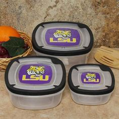 LSU Tigers 3-Pack Square Food Containers
