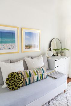Love our Carson frames in this pretty guest room – DIY Mid Century Daybed and Guest room tour via Sugar and Cloth