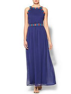"Sabine Talia Embroidered Maxi Dress | Piperlime Easy to ""Modest-ify"" - just throw a little shirt under it if you don't like exposed shoulders. Also, it would be easy to duplicate at home with a similar pattern and some nice ribbon. Notice the side-zipper closure."