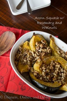 Acorn Squash with Rosemary and Walnuts   Dinners Dishes & Desserts Side Dish Recipes, Veggie Recipes, Vegetarian Recipes, Cooking Recipes, Healthy Recipes, Yummy Recipes, Vegan Thanksgiving Dinner, Thanksgiving Recipes, Thanksgiving 2013