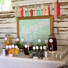 sangria bar wedding or party drink station labels and signs- complete set of printable files on Etsy, $45.00