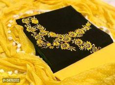 👗Top- cotton slub embroidery work 👖Bottom- cotton 🧣Duppta- chiffon Raidana print & 4 side pompom lace *Rate P For Orders… Embroidery On Kurtis, Kurti Embroidery Design, Embroidery Suits, Embroidery Stitches, Elegant Fashion Wear, Trendy Fashion, Indian Wear, Indian Suits, Types Of Fashion Styles